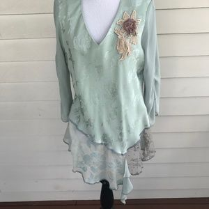 Spencer Alexis Mint Green Tunic Top Lace Peplum